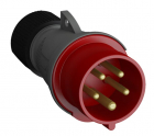 2CMA101956R1000 Easy & Safe Series, IP44 Red Cable Mount 3P+E Industrial Power Plug, Rated At 16A, 4
