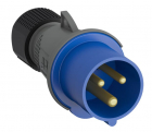 2CMA101975R1000 Easy & Safe Series, IP44 Blue Cable Mount 2P+E Industrial Power Plug, Rated At 32A,