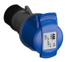 2CMA102003R1000 Easy & Safe Series, IP44 Blue Cable Mount 2P+E Industrial Power Socket, Rated At 16A