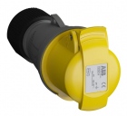 2CMA102030R1000 Easy & Safe Series, IP44 Yellow Cable Mount 2P+E Industrial Power Socket, Rated At 3