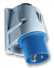 2CMA193314R1000 Easy & Safe Series, IP44 Blue Panel Mount 2P+E Right Angle Industrial Power Plug, Ra