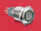 MP0045/1E2GN012 PUSH BUTTON, STAINLESS STEEL GREEN, 12VDC,LATCHING